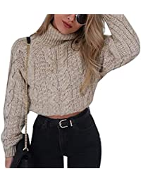 Crop Tops Mujer Otoño Invierno Elegantes Moda Pullover Cuello Alto Manga  Larga Color Sólido Jerseys Ropa Sweater… 4c95498da8ad