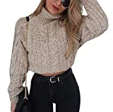 Crop Top Damen Herbst Winter Elegante Mode Pullover Rollkragenshirt Langarm Unifarben Locker Sweater Pullis Mädchen Kleidung Casual Bequeme Wollpullover Young Fashion Moderner Stil