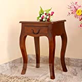DriftingWood Sheesham Wood Curved Legs Bedside End Table for Living Room | Light Rosewood