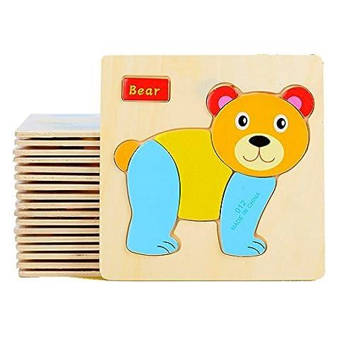 FomCcu Jigsaw Puzzles Wooden Toy Intelligence Educational Toys for Kids Baby Children Chrismas Gift Cartoon Animal Shape 2-Pack