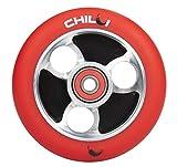 Chilli Parabol Alloy Core 100mm 88A Wheel + Abec 9 Lager Stund Scooter trick Roller Rollen Core Schwarz / Pu Red