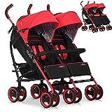 Zwillings-Buggy DuoComfort Geschwister-Wagen | Faltbar | Liegeposition | Regenschutz | Schwenkräder vorne - Rot Scarlett