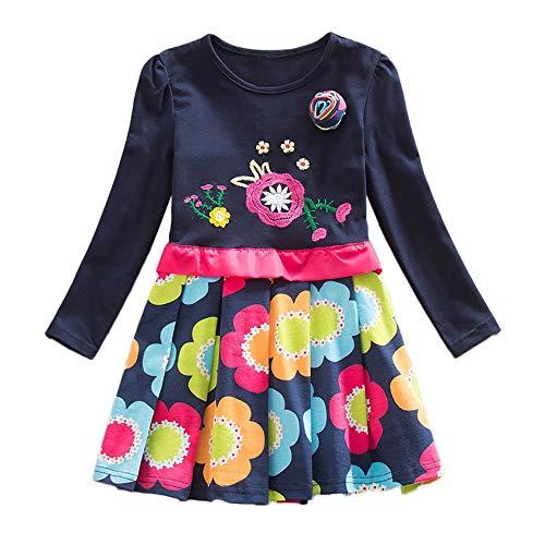 JERFER Mädchen Crewneck Langarm Casual Karikatur Stickerei Party T-Shirt Kleid Kinderkleider Festliche 2-8 T/Jahre (Blau, 6T) -