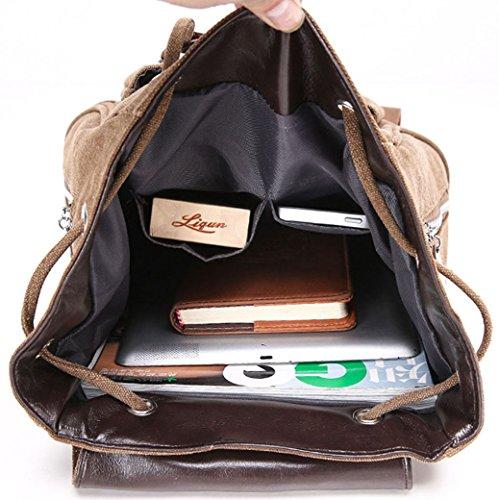 Greeniris Unisex Zaino casuale di scuola della coulisse Zaino Borsa di viaggio per i adolescente marrone marrone
