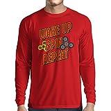Camiseta de Manga Larga para Hombre Despierta, Gira, Repite - mi Fidget Spinner (X-Large Rojo
