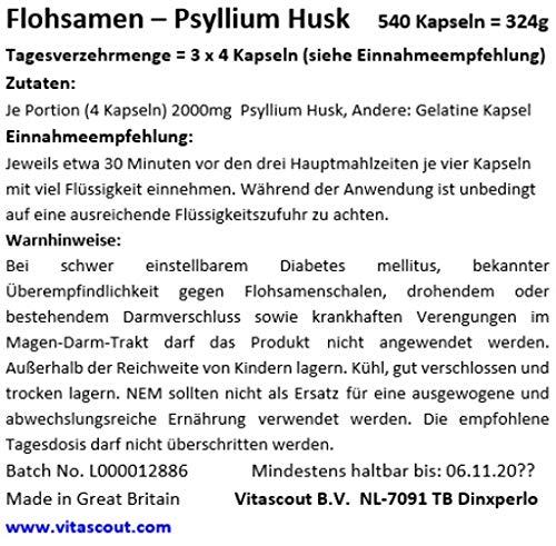540 Kapseln Flohsamen/Flohsamenschalen – Psyllium Husk – 100% natürlich – PREMIUMQUALITÄT – BESTPREIS von VITASCOUT®
