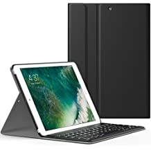 MoKo Funda para New iPad 9.7 pulgada 2017 - Wireless Bluetooth Keyboard Case con PU Cuero Teclado Inalánbrico QWERTY Layout Para Apple All-New iPad 9.7 Pulgadas 2017 Tableta, Negro