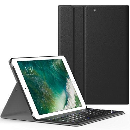 Foto de MoKo Funda para New iPad 9.7 pulgada 2017 - Wireless Bluetooth Keyboard Case con PU Cuero Teclado Inalánbrico QWERTY Layout Para Apple All-New iPad 9.7 Pulgadas 2017 Tableta, Negro