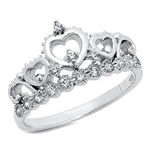 925 Sterling Silver Cubic Zirconia Princess Heart Crown Tiara CZ Band Ring, Nickel Free Sz 7 - UK Size: