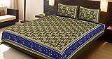 Elefante indio de algodón verde Impreso hoja de cama doble cama hoja de cama y almohada Set Soporte de 223,52Set étnico Colcha Edredón de juego por Stylo cultura