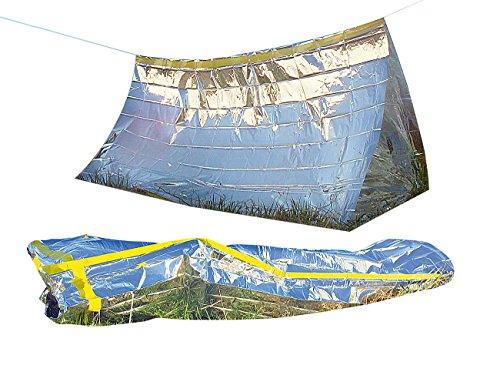 Semptec Urban Survival Technology Notzelt: Survival-Set mit Notfall-Zelt und Folien-Schlafsack (Notschlafsack) Survival Zelten