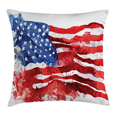 American Flag Decor Throw Pillow Cushion Cover, National Paint Brush Watercolor Digital Stroke Messy Graffiti Artsy Decor, Decorative Square Accent Pillow Case, 18 X 18 inches, Red Blue
