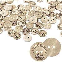 igemy 100 piezas de madera mariposa hecha a mano 2 agujeros de madera Botones de costura