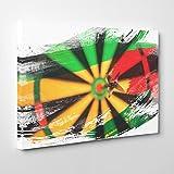 Arty Pie Canvas Print 20 x 14 inch (50 x 35 cm) Bulls Eye Darts Dartboard V2, Wood, Multi-Colour, 50 x 35 x 3 cm