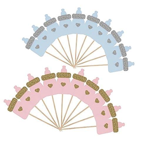 MagiDeal Lot 20pcs Gâteau Topper Biberon en Paillette Décoration pour Anniversaire Baby Shower-Rose et Bleu