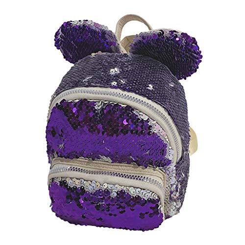 Sequin Bow Schultasche,TTLOVE Mädchen Kinderrucksack im Kindergarten Reise Schulrucksack Schule Tasche(Lila,15x6x10 cm) ()