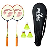 Feroc Badminton Racket Set of 2 with 3 Pieces Nylon shuttles with Full