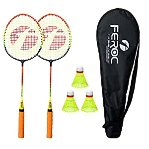 Feroc Badminton Racket Set of 2 with 3 Pieces Nylon shuttles with Full Cover