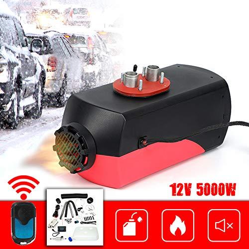 Triclicks Aerotermo Diesel per Auto 5KW 12V, aerotermo per Interni con Monitor LCD remoto per Camper, roulotte, Camion, Barche (Black&Red)