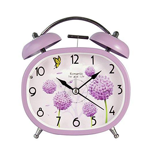 Startseite Wecker Batteriebetriebene Retro Pflanzenmuster Stille Wecker mit Nachtlicht für Kinder Kinder Studenten (lila)