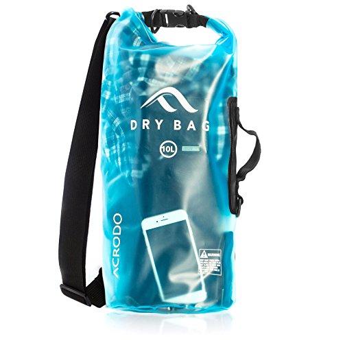 Acrodo transparente schwimmende wasserdichte Tasche für Wertsachen - 10 Liter & 20 Liter Trockenbeutel für Bootfahren, Schwimmen, Angeln, Camping, Kajak, Segeln und Wassersport mit Schultergurt - Hält Ihre persönlichen Sachen trocken und geschützt