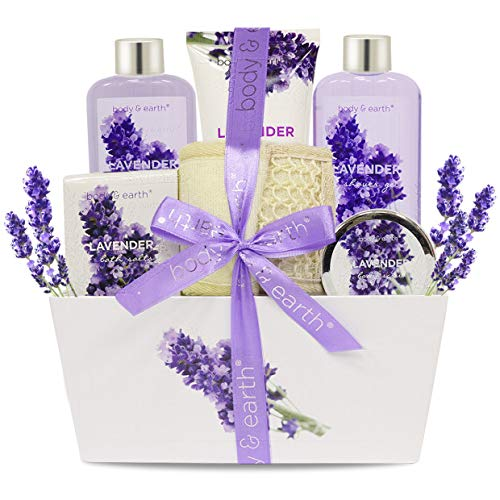 Bath Spa Gift Set for Women – Body & Earth Gift Basket 6 Pcs Lavender Scented Bath and Body Set for Women, Contains Shower Gel, Bubble Bath, Body Lotion, Bath Salt, Body Scrub, Best Gift for Her