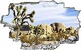 DesFoli Wüste Savanne Kaktus Berg 3D Look Wandtattoo 70 x 115 cm Wanddurchbruch Wandbild Sticker Aufkleber C021