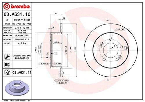 Disque de frein-Brembo 08.a631.10