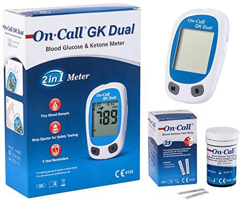 On Call GK Dual Ketone Pack | 1 x GK Dual Messgerät (mmol/l) und 1 x Ketone Teststreifen (25 Stück) im praktischen Set | zur Ketonmessung | Stechhilfe und Lanzette NICHT im Set enthalten