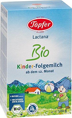 Töpfer Lactana Kinder Bio Folgemilch - ab dem 12. Monat, 2er Pack (2 x 500g)