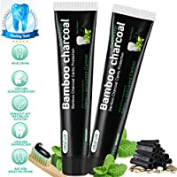 Aktivkohle Zahnpasta -Whitening Schwarze Zahncreme -Zahnaufhellung Bamboo Charcoal Toothpaste -Natürliche Bleaching Bambuskohle Zahnpasta Ohne Fluorid -Aktivkohle Zahncreme Weiße Zähne 2Stück