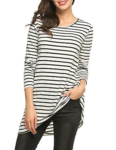 ACEVOG Damen Langarm Shirt langarm gestreiftes Shirt O-Kragen lang langarm