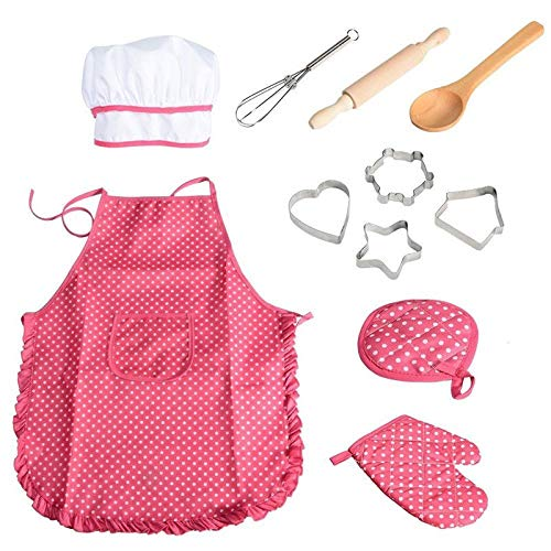 Set Kostüm Elf - Toyvian Kinder Kochen Kostüm Chef Set, Kinderschürzen Kochmütze Küchenaccessoires Rollenspiel Chefkostüm 11 Stück