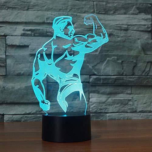 ZNNYE 3D Bodybuilding Muskel Modellierung Tischlampe Atmosphäre Jungen Schlafzimmer Led Nachtlicht Dekor 7 Farben Ändern Schlaf Beleuchtung Geschenke