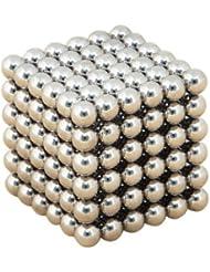 Topways® Cubo Mágico de 216 Bolas Magnéticas Puzzle de Bolas 5 mm de Neodimio (Plata)