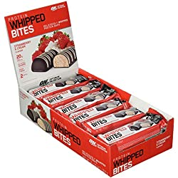 Optimum Nutrition Protein Whipped Bites Bars- Riegel (mit 20g Eiweiß (enthält Whey Isolate), ohne Zuckerzusatz) Strawberry and Cream, 1er Pack (12 x 76g)