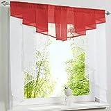 Hongya, tendina trasparente scorrevole, per finestra piccola della cucina., Poliestere, Rot, H/B: 100/100 cm