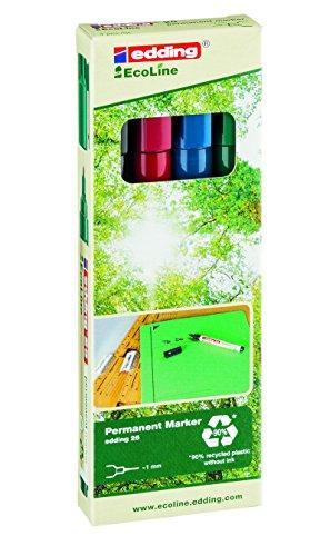 edding 25 Eco Line Permanent Marker - 4er Set - Feines, dauerhaftes Markieren vieler Oberflächen, wie z.B. Metall, Kunststoff, Glas - Rundspitze
