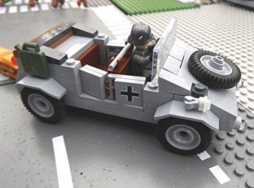 ✠ Bausteine VW Kübelwagen Typ 82 inkl. Modbrix custom Minifiguren Wehrmacht Soldaten – Cobi Upgrade 2187 ✠ - 2