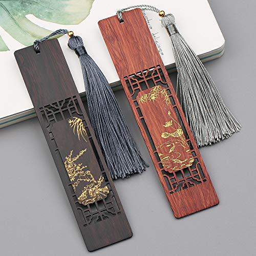 Segnalibri in legno naturale stile vintage etnico Regali 2 pezzi, foto