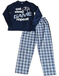 ThePyjamaFactory Boys Eat Sleep Game repeat Long Pyjamas 9 To 13 Years Gamer PJS Blue