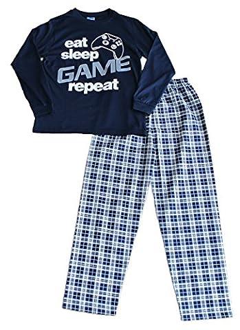 Boys Eat Sleep Game Repeat Long Pyjamas 9 to 13 Years Gamer PJs Blue (11-12 Years 146-152cm)