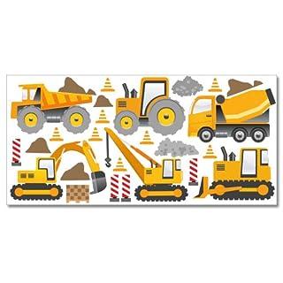 WANDKINGS Baumaschinen Wandsticker XL Set, 26 Aufkleber, Gesamtfläche 130 x 70 cm