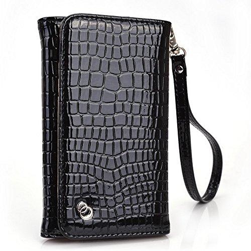 Kroo Link série universel sac à bandoulière avec rabat femme, compatible avec de nombreux 4à 5inch étui pour samsung/nokia/Prestigio/Sony/VIEWSONIC Cell Phone multicolore Hot pink Navy Blue noir