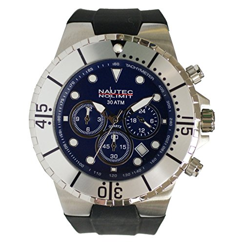Nautec No Limit Men's Quartz Watch Analogue Display and Rubber Strap MALD-QZ-GMT-RBSTST-BL