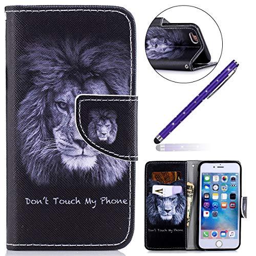 Felfy Kompatibel mit iPhone 6 Plus / 6S Plus Tasche Hülle Leder Flip Case Kreativ Bunt Gemalt Muster Ledertasche,iPhone 6S Plus HandyHülle PU Leder mit Weiche Silikon Innere Cover Tasche (Kreative Cases Für Iphone 6 Plus)