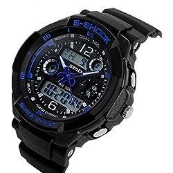 ETOWS® Boys Girls Sport Digital Watch Quartz Led Watch 50M Waterproof Students Children''s Wrist Watch (Blue)