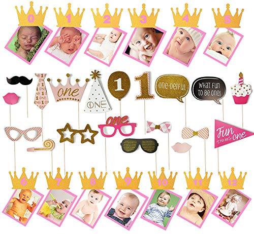 Ohighing 0-12MonateBabyFoto Banner Girlande Bilderrahmen und 1 Birthday Fotobooth Requisiten 1stBirthdayDecorations Rosa