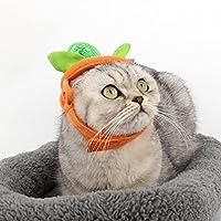 Huhuswwbin Halloween Party Lovely Pets Gatos Calabaza Sombrero con Cinta mágica fácil Ajustable – Naranja + Verde