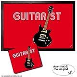 Set: 1 Felpudo Alfombrilla (60x40 cm) + 1 Alfombrilla Para Ratón (23x19 cm) - Música, Guitarist